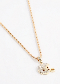 Diamante Football Helment Necklace