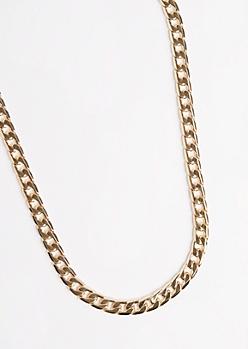 Golden Medium Cuban Link Necklace