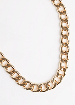 Golden Thick Cuban Link Necklace