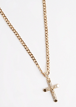 Stone Encrusted Cross Necklace