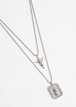 2-Piece Jesus & Angel Necklace