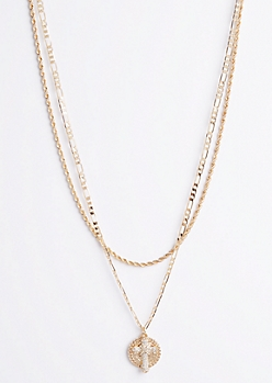 2-Piece Cross & Eagle Pendant Necklace Set