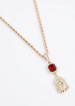 Jesus Stone Rope Chain Necklace