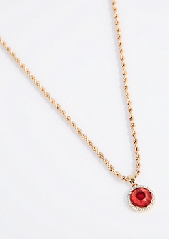 Round Stone Rope Chain Necklace