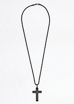 Black Rope Chain Cross Necklace