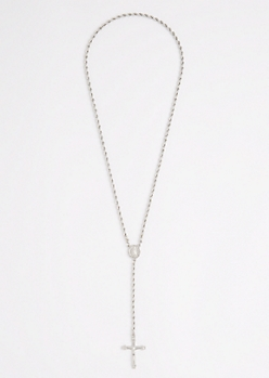 Silver Rope Chain Rosary Y-Necklace