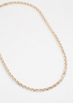 Two-Tone Bike Chain Link Necklace Set