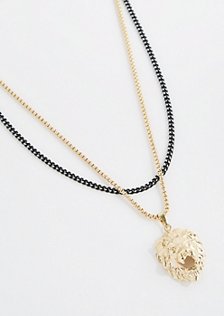 3D Lion Head Double Chain Necklace