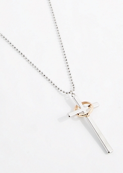 Ring & Cross Ball Chain Necklace