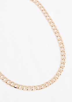 Gold Tone Cuban Chain Necklace