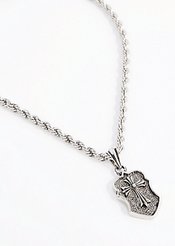 Cross Shield Twisted Rope Necklace