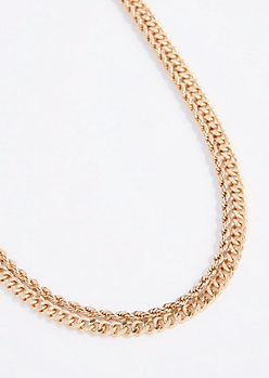 2-Pack Wheat & Rope Chain Necklaces