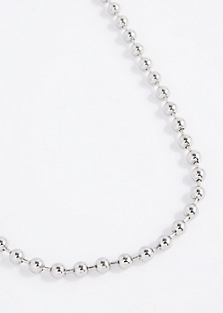 Silver Tone Ball Chain Necklace