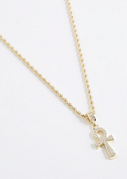 3D Iced Out Ankh Necklace