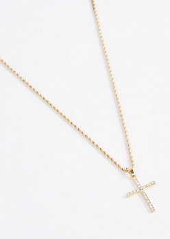3D Iced Out Cross Necklace