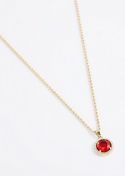 Red Halo Gem Pendant Necklace