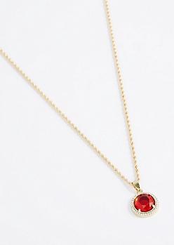 Red Halo Gem Pendant Necklace
