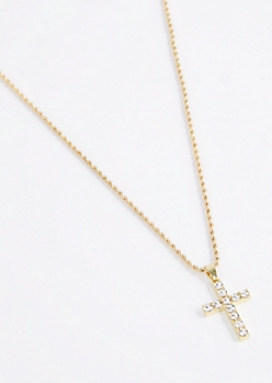 Big Crystal Cross Necklace