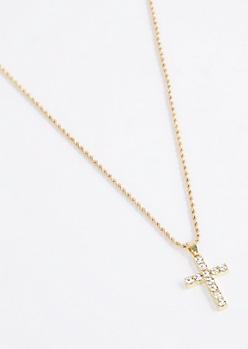 Big Crystal Cross Necklace