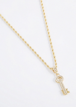 Pave Skeleton Key Necklace