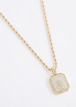 Pave 3D Pendant Necklace