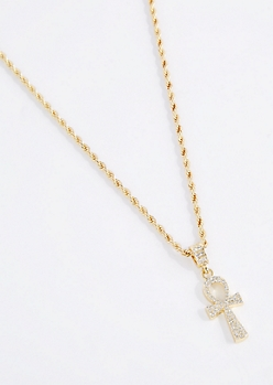 Pave Ankh Pendant Necklace