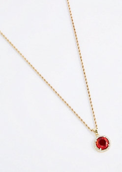 Halo Ruby Round Pendant Necklace