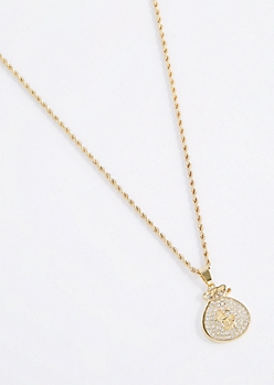 Pave Money Bag Pendant Necklace