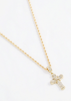 Stone Wrapped Cross Necklace