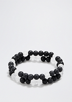 Clear & Black Beaded Bracelet Set
