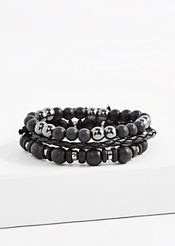 Black Hematite Braided Bracelet Set