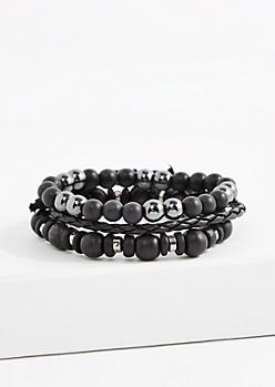 Black Hematite Braided Bracelet Set