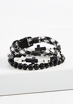 Black & White Cross Beaded Bracelet Set