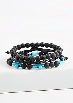 Black & Turquoise Cross Braided Bracelet Set