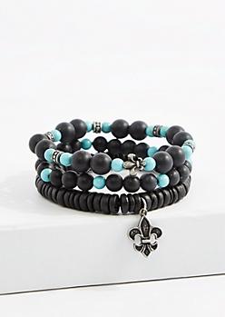 Fleur de Lis Wood Bead Bracelet Set