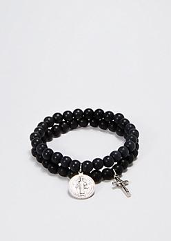 Saint Charm Beaded Bracelet Duo