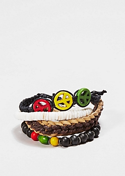 Rasta Peace Bracelet Set