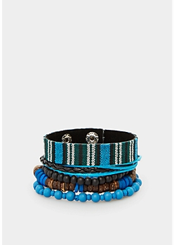 Blue Beaded Tribal Bracelet Set