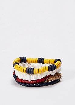 Navy Puka Shell Bracelet Set