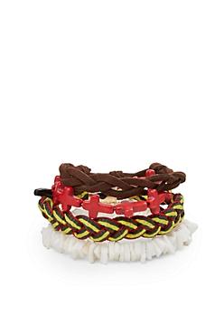 Rasta Puka Shell Bracelet Set