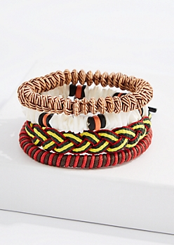 Puka Shell Rasta Braided Bracelet Set