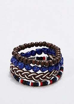 Blue Skull Bracelet Set