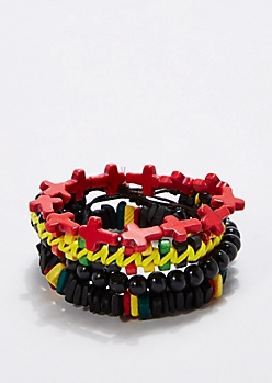Rasta Cross Bracelet Set