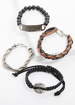 4-Pack Vintage Coin Bracelet Set