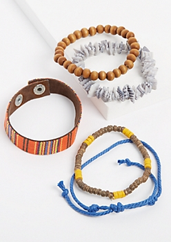5-Pack Beaded & Woven Bracelet Set
