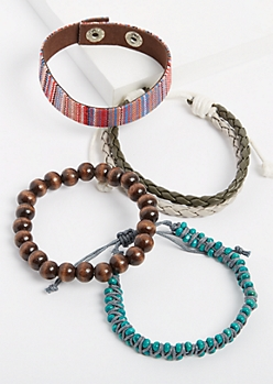 5-Pack Turquoise Beaded & Woven Bracelet Set