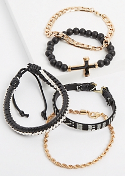 5-Pack Beaded & Chain Link Bracelet Set