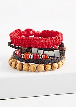 Red Paracord Bracelet Set