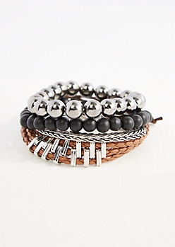 Black & Metallic Beaded Bracelet Set