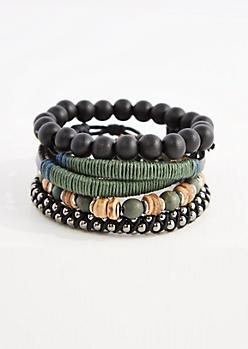 Forest Green Beaded Bracelet Set